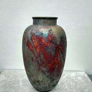 Tall Raku Vase or Jar