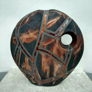 Large Round Raku Deco Vase