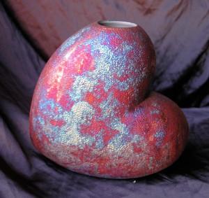 Large Raku Heart Vase