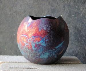 Round Raku Cut Vase