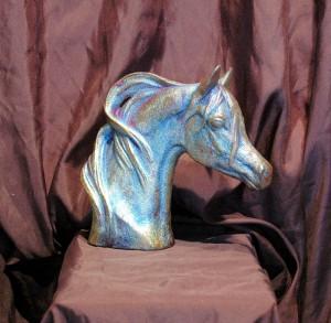 Small Raku Horse Bust