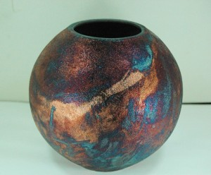 Medium Sized raku Ball Vase