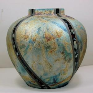 Large Round Raku Vase