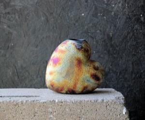 Small Raku Heart Vase
