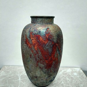 Tall Raku Vase or Jar