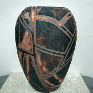 Huge Raku Pillow Vase
